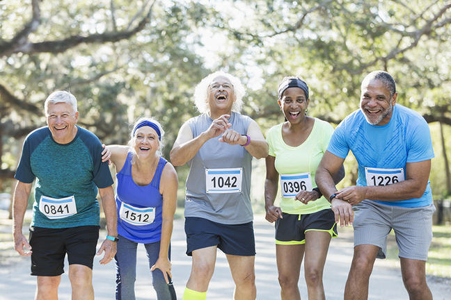 five older mixed race runners