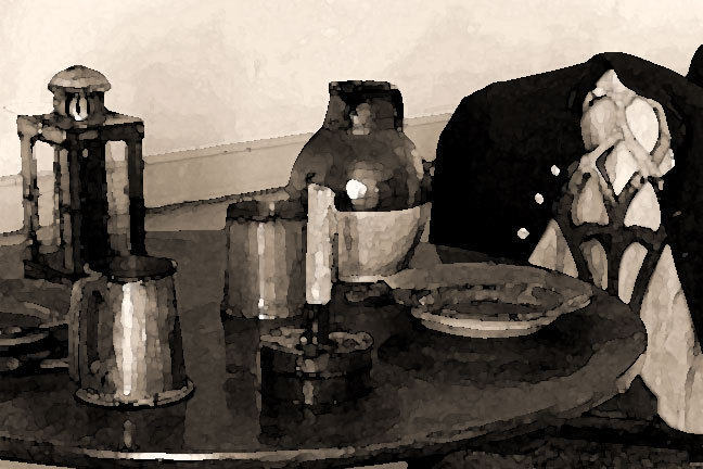 Tavern table with tankards, jug and candle