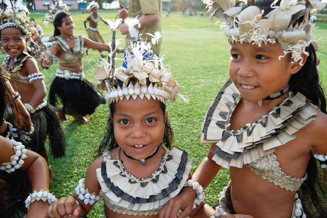 Pacific Islander children in native dress
