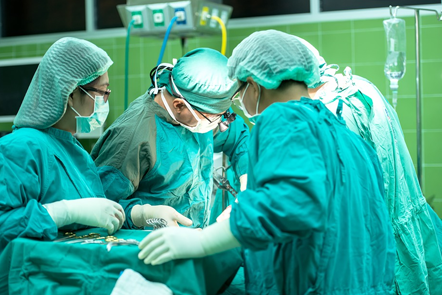 Operation being performed in a surgery