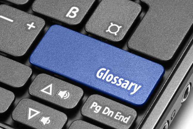 A key on a keyboard that says 'Glossary'