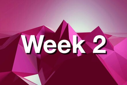 """Within pink mountain with """"week 2"""" written on it."""