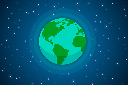 A cartoon image of the globe showing South and North America, part of Europe & Africa, and the UK. The background is a night sky with stars.