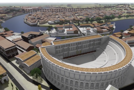 Digital render of the Theatre of Marcellus, an open air theatre that is in a shape of a semi-circle.