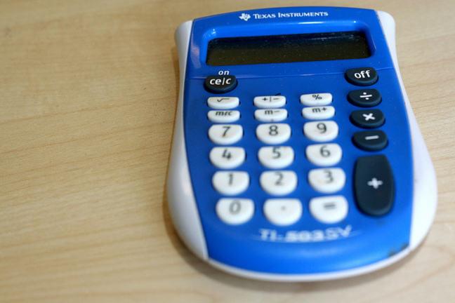 Blue calculator on a desk