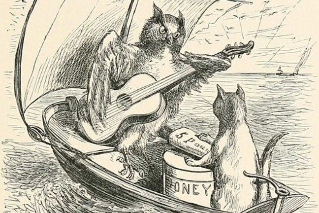An etching of the owl and the pussycat in the boat. The owl is playing a guitar