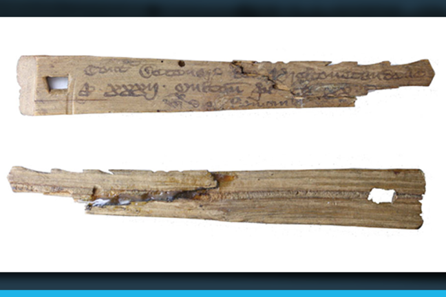 A pair of wooden medieval Tally Sticks
