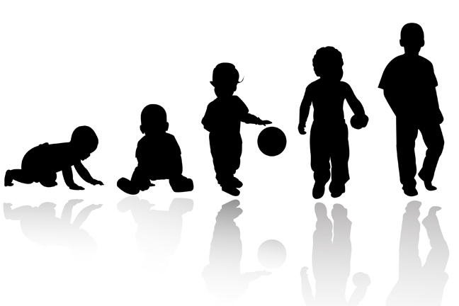 Silhouettes of baby, toddler, child, older child