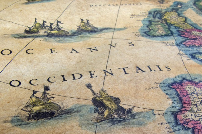 Old sea map, close up detail