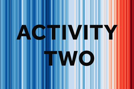 Activity two over climate stripes graphic. The blue changes to red indicating the temperature is getting hotter.