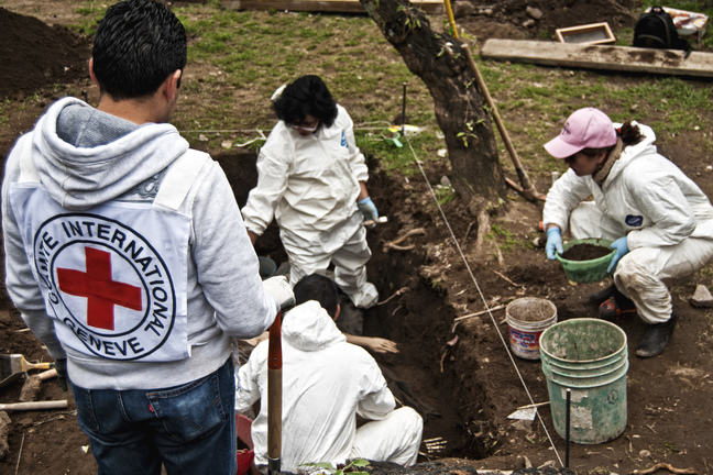 Forensic anthropologists from the ICRC are investigating a grave. Two anthropologists are standing in the grave and two are assisting at the side
