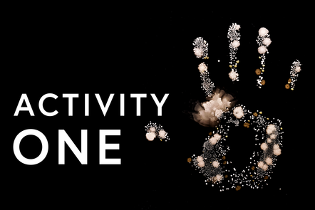 Hand print with text saying activity 1