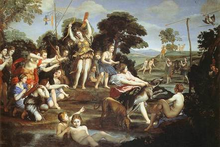 1.Diana, the goddess of hunting holds her bow aloft in victory after the hunt, surrounded by her nymphs.