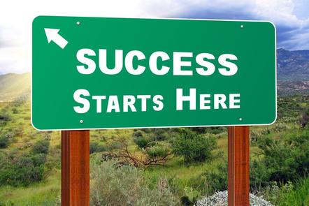 Success starts here signpost
