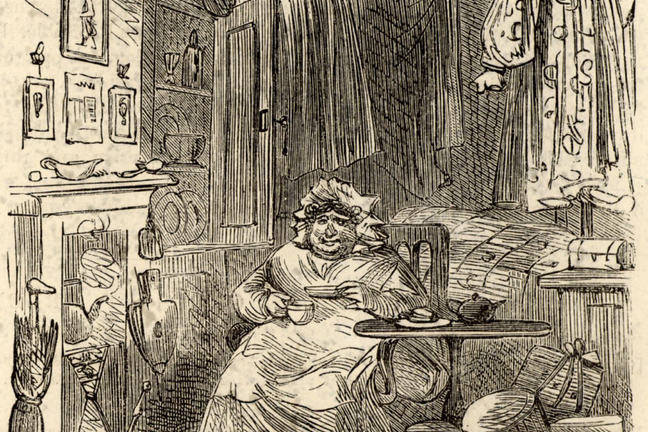 Illustration from the novel 'Martin Chuzzlewit' by Charles Dickens: the nurse Sarah Gamp sitting on an armchair drinking tea.