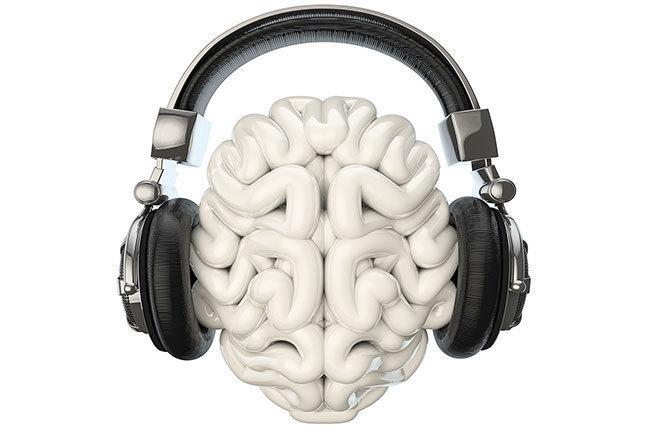 Brain listening to music through headphones