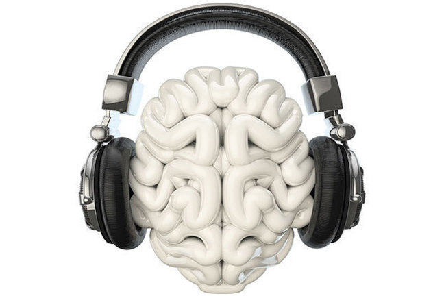 Brain listening to music through headphones