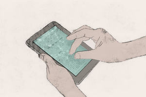 Reading in the Digital Age: an illustration of two hands, holding and operating a Kindle e-book reader.