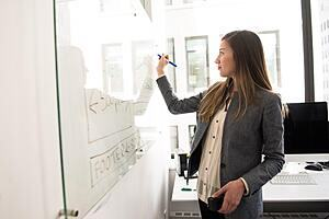 woman standing in an office in business attire writing on a whiteboard