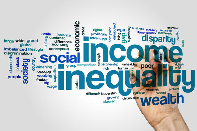 Graphic made up of many different words relating to the effects of inequality on society, economically.
