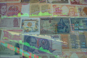 Composite image of bank notes and financial charts.