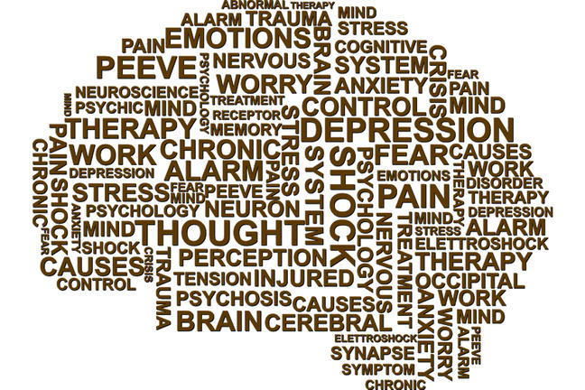 Cloud of words related to depression that make up the shape of a brain
