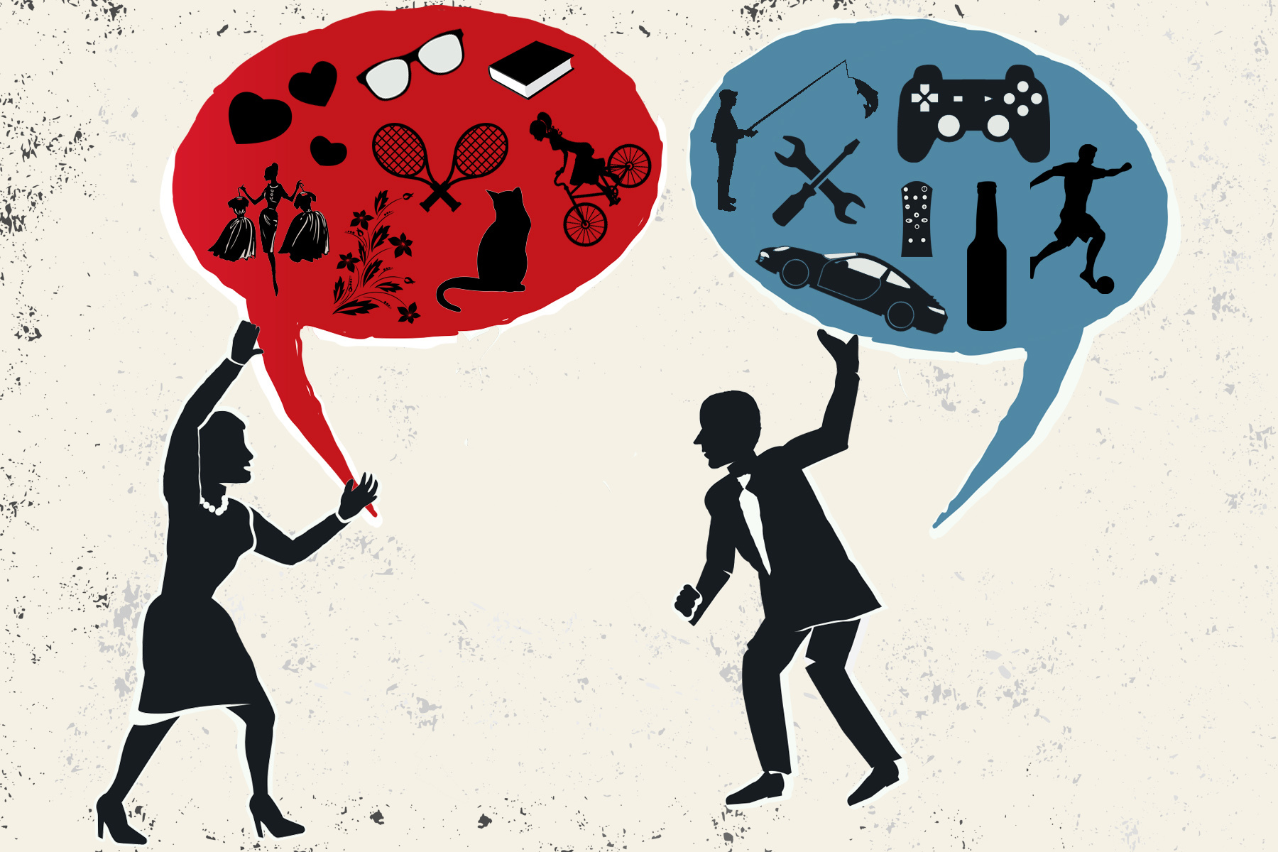 A man and a woman hold speech bubble. In their bubbles are icons which represent stereotypes about their gender. For example, in the female speech bubble there are flowers and dresses. In the male speech bubble there are cars and football.