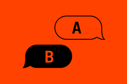 An icon of a conversation between two chat bubbles. One says A, one says B.