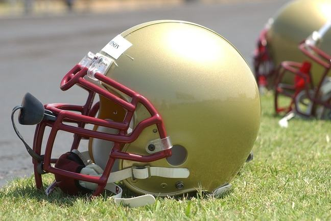 A close-up of an American football helmet.