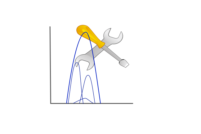 Multiple peaks on a graph with a screwdriver and spanner above