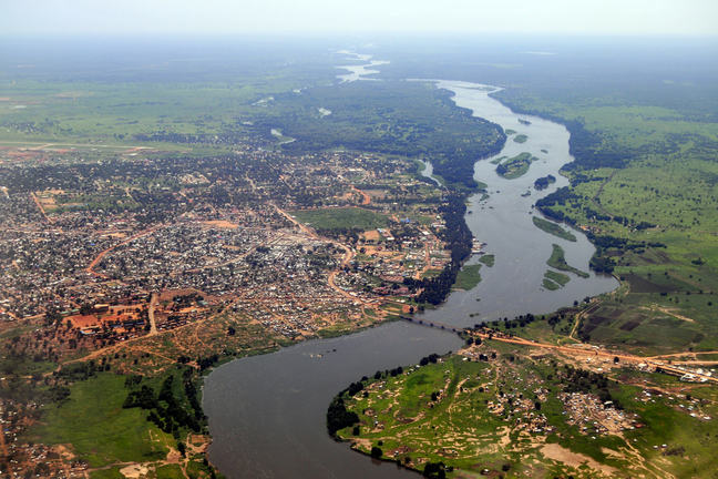 A helicopter view of Juba, the capital of South Sudan is shown. The river is also visible on Nile on the right.