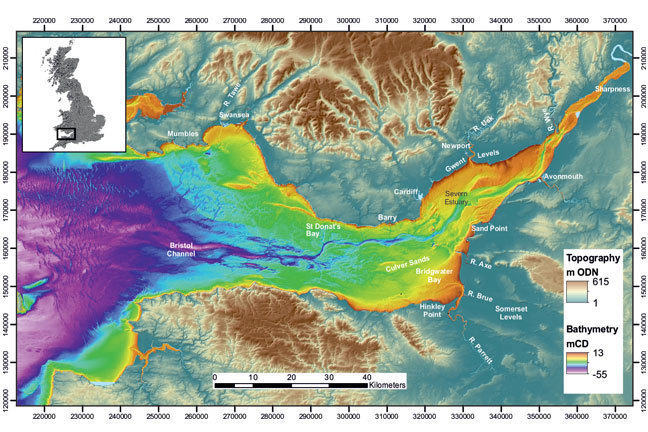 UKHO bathymetry of the Bristol Channel and Severn Estuary