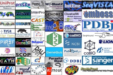 A number of database logos arranged together with other bioinformatics associated logos arranged in a rectangle