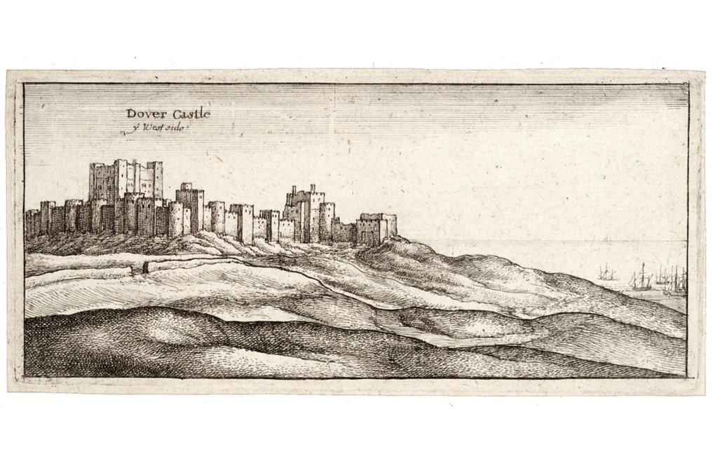An old print of Dover Castle on hills above the sea with ships