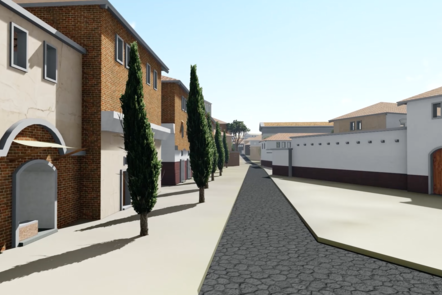 A digital recreation of a view of a street, showing the front of residential homes in Rome