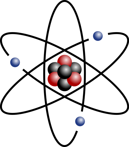 A stylised image of an atom, showing protons, neutrons and electrons