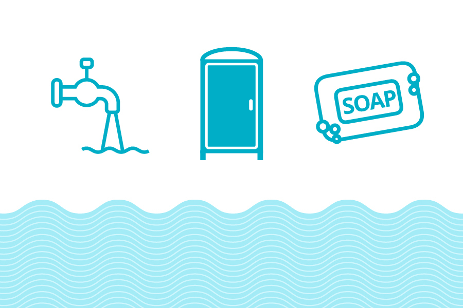 Cartoon images of a water faucet, a toilet facility and a bar of soap above waves of water on a blue background.