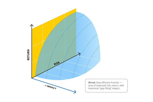 "Risk-Return + Impact chart and area of balanced risk, return, with maximum ""gap filling"" impact"