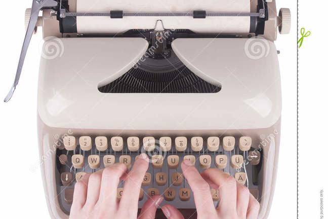 Photo of a pair of hands with fingers typing on an old manual typewriter, set on a white background