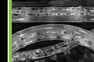 Aerial view of a curved intersection on a highway.