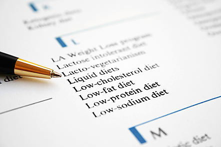 List of diets written on a page