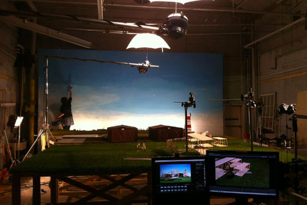 the set of Miss Todd with monitors