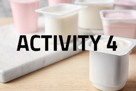 Pots of yoghurt with 'Activity 4' written over the top of the image
