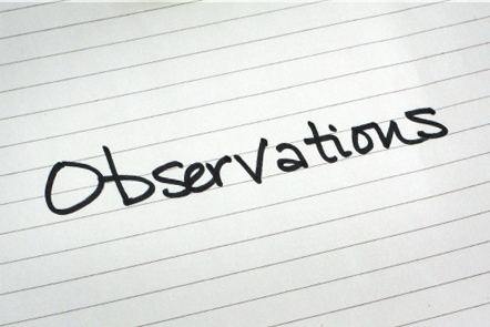 A page with the word 'Observations' written down.