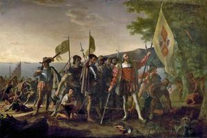 Christopher Columbus is depicted landing in the West Indies, John Vanderlyn, 1847