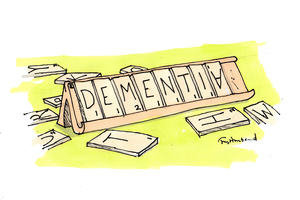 Illustration showing scrabble letters spelling the word DEMENTIA