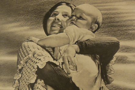 photograph from a World War 2 Ministry of Information pamphlet showing a mother and baby