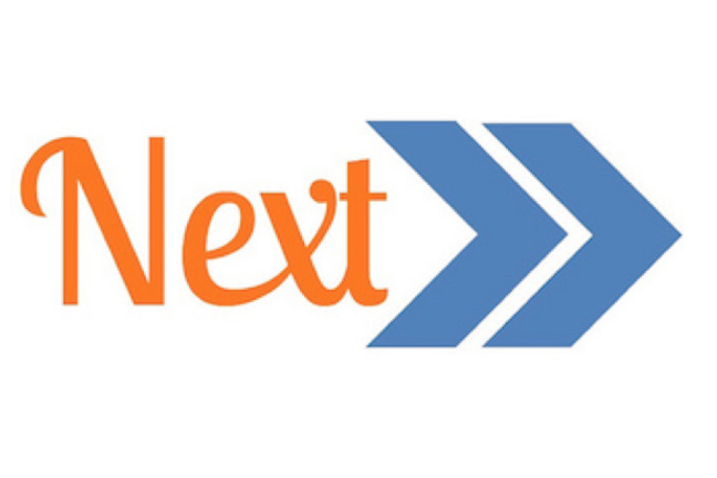 The word NEXT in orange followed by 2 blue arrows