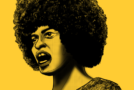 A drawing of black feminist Angela Davis on a yellow background