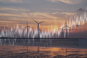 Time series of historic temperatures in front of a picture of a wind farm